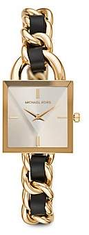 Michael Kors Women's Chain Lock Goldtone Stainless Steel & Chain Leather Strap Watch