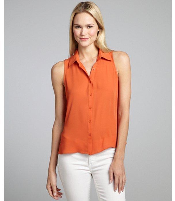 Wyatt orange peel woven open back blouse