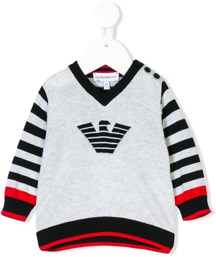 Emporio Armani Kids logo-intarsia V-neck sweater