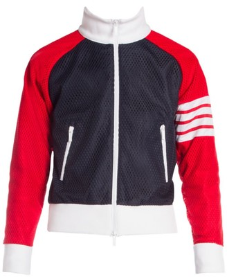 Thom Browne Perforated Ribbed-Neck Zip-Front Track Jacket