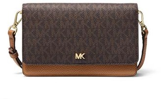 MICHAEL Michael Kors Mott Pebbled Leather Phone Crossbody Brown