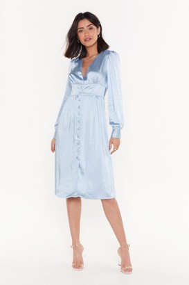 Nasty Gal Womens Justa Touch Of Your Love Satin Midi Dress - Blue - 6, Blue