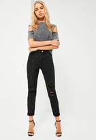 Missguided Black High Rise Mesh Panel Mom Jeans