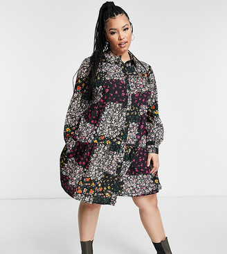 Yours patchwork tiered dress in multi floral