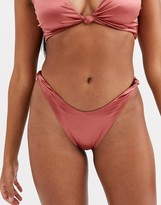 Asos Design DESIGN mirror satin knot detail bikini bottom in high shine bronze