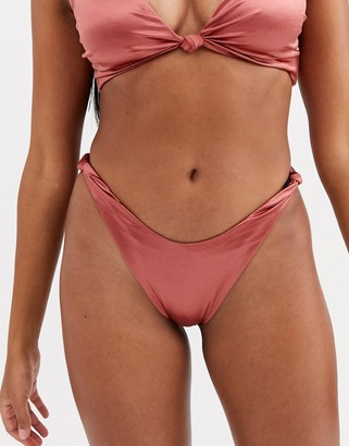 ASOS DESIGN mirror satin knot detail bikini bottom in high shine bronze