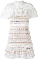 Self-Portrait lace mini dress - women - Polyester/Spandex/Elastane - 6
