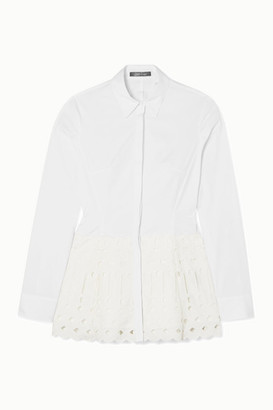 Lela Rose Broderie Anglaise-trimmed Stretch-cotton Poplin Blouse - White