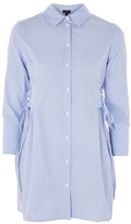 Topshop TALL Stripe Poplin Corset Shirt Dress