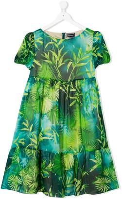Versace TEEN fauna print dress