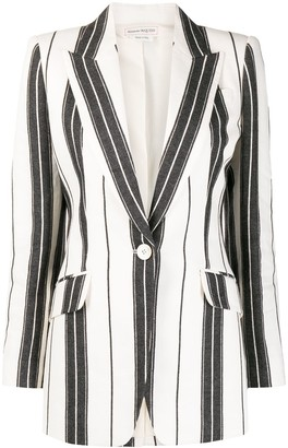 Alexander McQueen Striped Single-Breasted Blazer