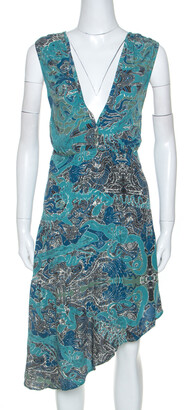 Zadig & Voltaire Blue Root Print Raw Edge Detail Dress XS