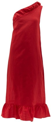 Adriana Degreas Bacio One Shoulder Linen Blend Midi Dress - Womens - Red