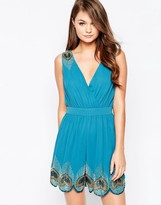Little Mistress Wrap Front Romper With Feather Detail