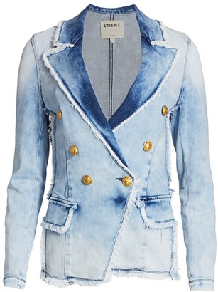 L'Agence Kaydence Double-Breasted Denim Jacket