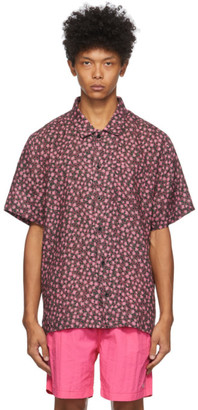 Solid and Striped Pink Linen Floral Geo Cabana Shirt