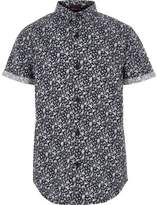 River Island Boys blue ditsy floral short sleeve shirt