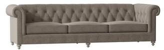 "Bernhardt London Chesterfield 116"" Rolled Arm Sofa Body Fabric: 2909-043, Leg Color: Blanca, Nailhead Detail: Antique Brass"