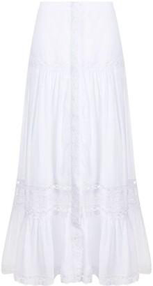 Charo Ruiz Ibiza Lace-Trimmed Poplin Skirt