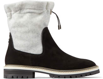 Jimmy Choo BAO FLAT Black Suede and White Wool Winter Boots with Toggle