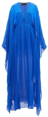 Dundas Gathered Silk Gown - Womens - Blue