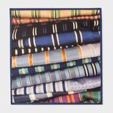 Paul Smith Men's Blue 'Tie' Print Silk Pocket Square