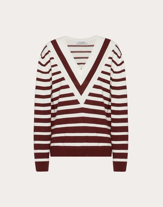 Valentino Signature Degrade Stripe Wool Sweater Women Black/ivory Virgin Wool 100% L