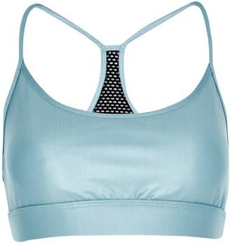 Koral Activewear Infinity blue satin stretch-jersey bra top
