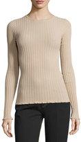 Derek Lam Ribbed Crewneck Sweater, Nude
