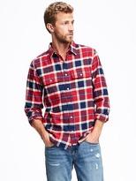 Old Navy Regular-Fit Plaid Flannel Pocket Shirt for Men
