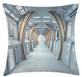 """Futuristic Hallway of Spaceship Indoor / Outdoor 26"""" Throw Pillow Cover East Urban Home"""