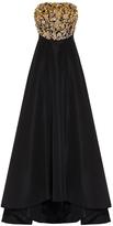 Oscar de la Renta Strapless Pailette Gown