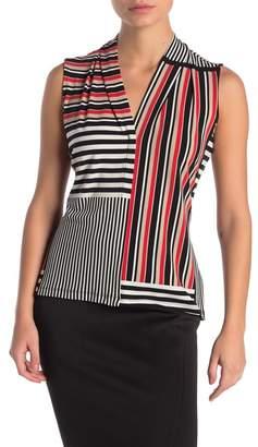 Calvin Klein Stripe Sleeveless Blouse (Petite)