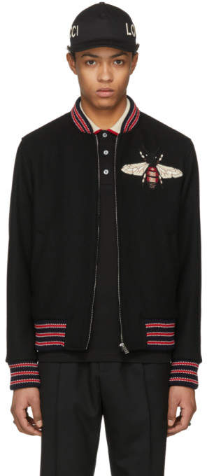 Gucci Black Bee Bomber Jacket