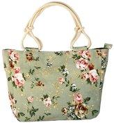 Prettybag Women Canvas Casual Chic Floral Printed Summer Beach Tote Bag Handbag