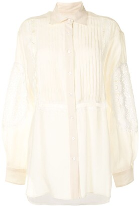 Cynthia Rowley Floral Lace-Trimmed Shirt