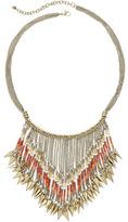 JCPenney MIXIT Mixit Orange Seed Bead Gold-Tone Bohemian Statement Necklace