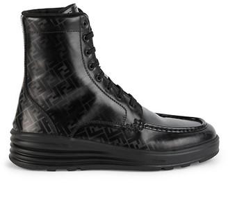 Fendi FF Logo Leather Combat Boots