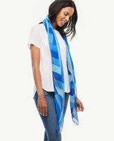 Ann Taylor Striped Cotton Silk Scarf