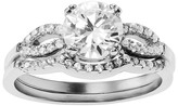 Journee Collection 1 1/4 CT. T.W. Round-cut Cubic Zirconia Bridal Basket Set Ring Set in Sterling Silver - Silver