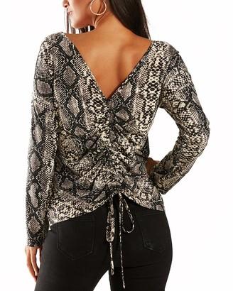 YOINS Women Cold Shoulder Tops Sexy Leopard Print Deep V Neck T-Shirt Long Sleeve Wrap Crop Top Self-tie Blouses Off White S