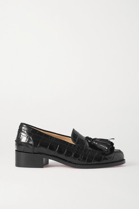 Christian Louboutin Badmoc Tasseled Croc-effect Leather Loafers - Black