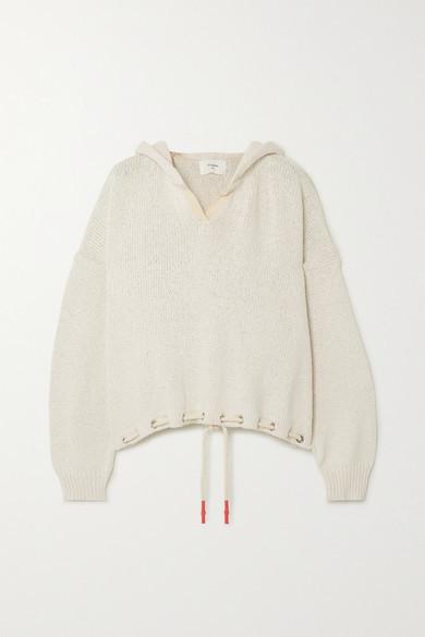 Bassike Tie-detailed Organic Cotton Hoodie - White