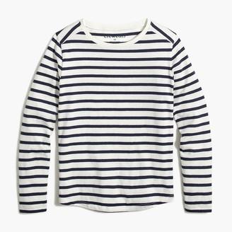 J.Crew Girls' long-sleeve striped tee with shirttail hem