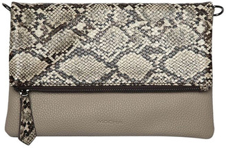 Mocha Snake Embossed Foldover Flap Clutch - Taupe