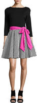 Eliza J Windowpane Skirt Flared Dress
