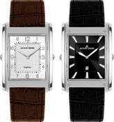 Jacques Lemans Format Men's Leather Stainless Steel Case Quartz Watch 1-1533A