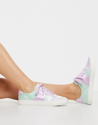 ASOS DESIGN Dime lace up trainers in pastel mix