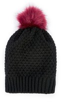 Sole Society Textured Knit Beanie w/ Faux Fur Pom