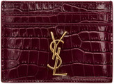 Saint Laurent Burgundy Croc-Embossed Monogram Card Holder